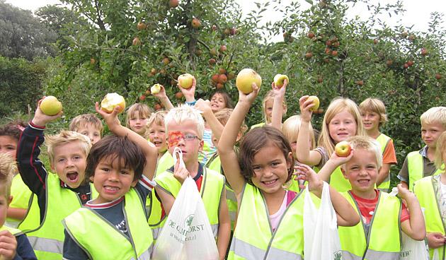 Schoolkinderen plukken de eerste appels op Landgoed de Olmenhorst