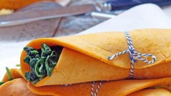 Paprikapannenkoeken met spinazie
