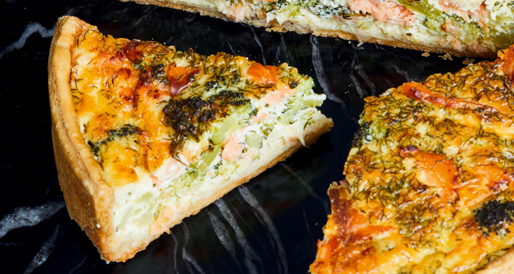 Recept quiche gerookte zalm & broccoli