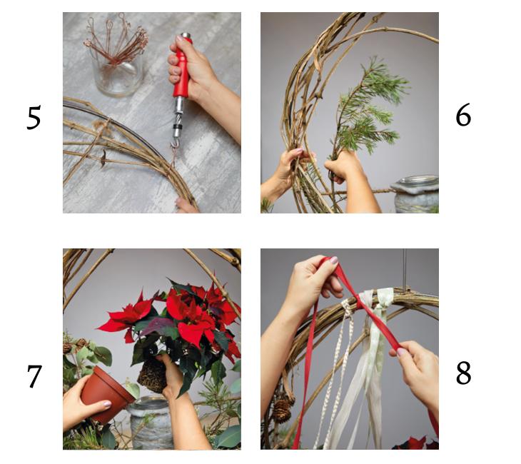 Kerstkrans maken met Poinsettia