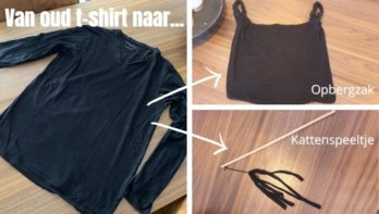 Oud shirt hergebruiken als opbergtas én kattenspeeltje